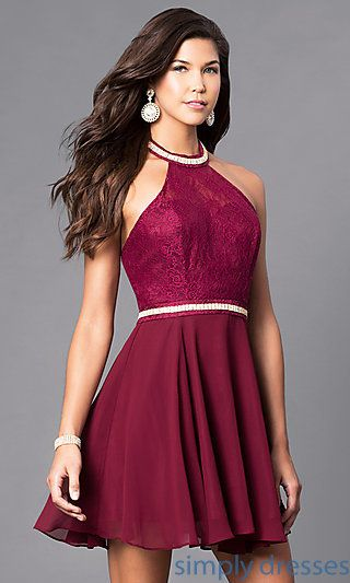 Short Semi Formal Halter Dress With Jeweled Collar Dressing Up