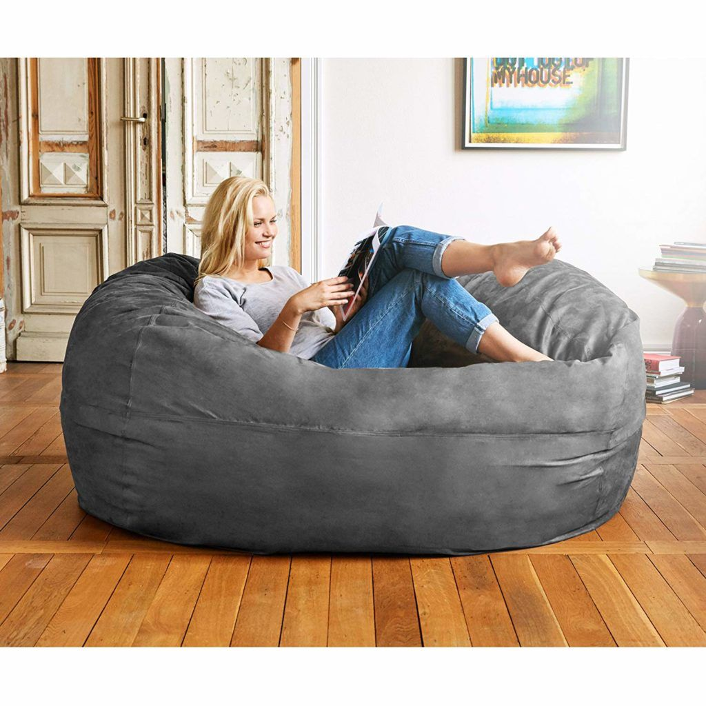 Lumaland Luxury 6 Foot Bean Bag Chair With Microsuede Cover Dark Grey Reviews Buying Guide