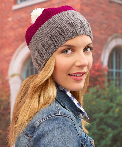 KNIT - Color Block Hat.. RED HEART® With Love®: 1 skein each 1401 ...