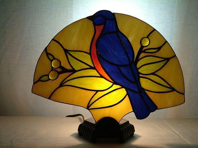 Stained Glass Bluebird Fan Lamp