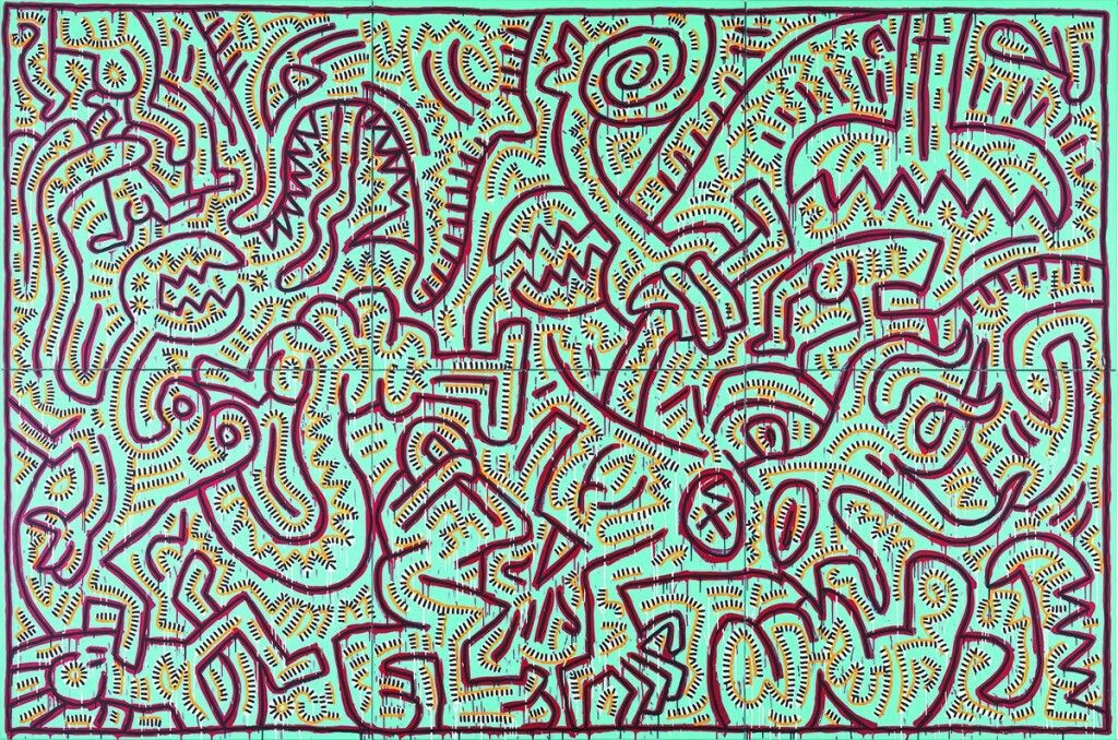 keith haring (american, 1958-1990), untitled (painting for