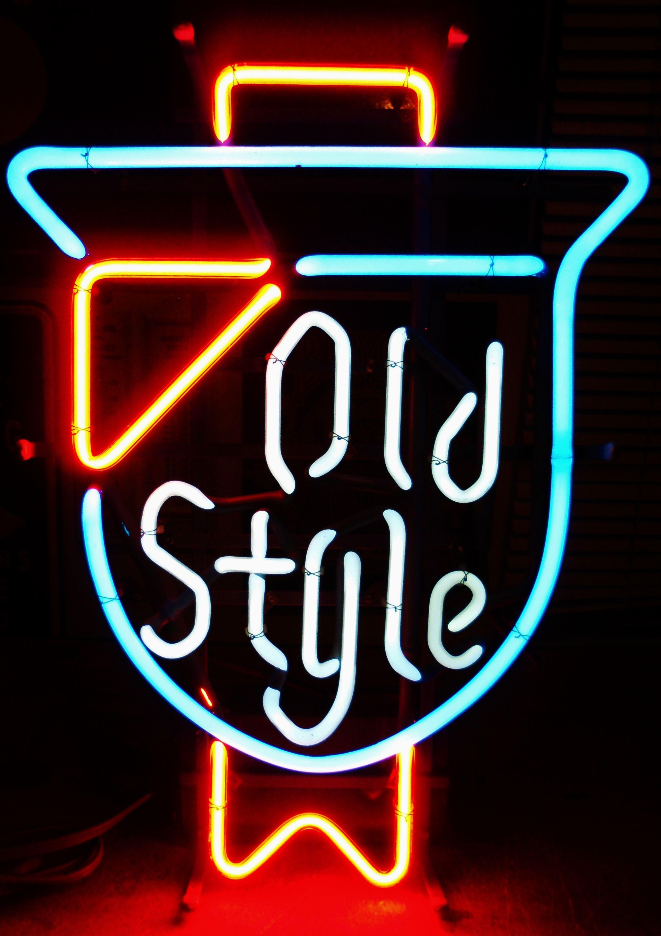 Vintage OLD STYLE Neon Bar Sign, circa 1980