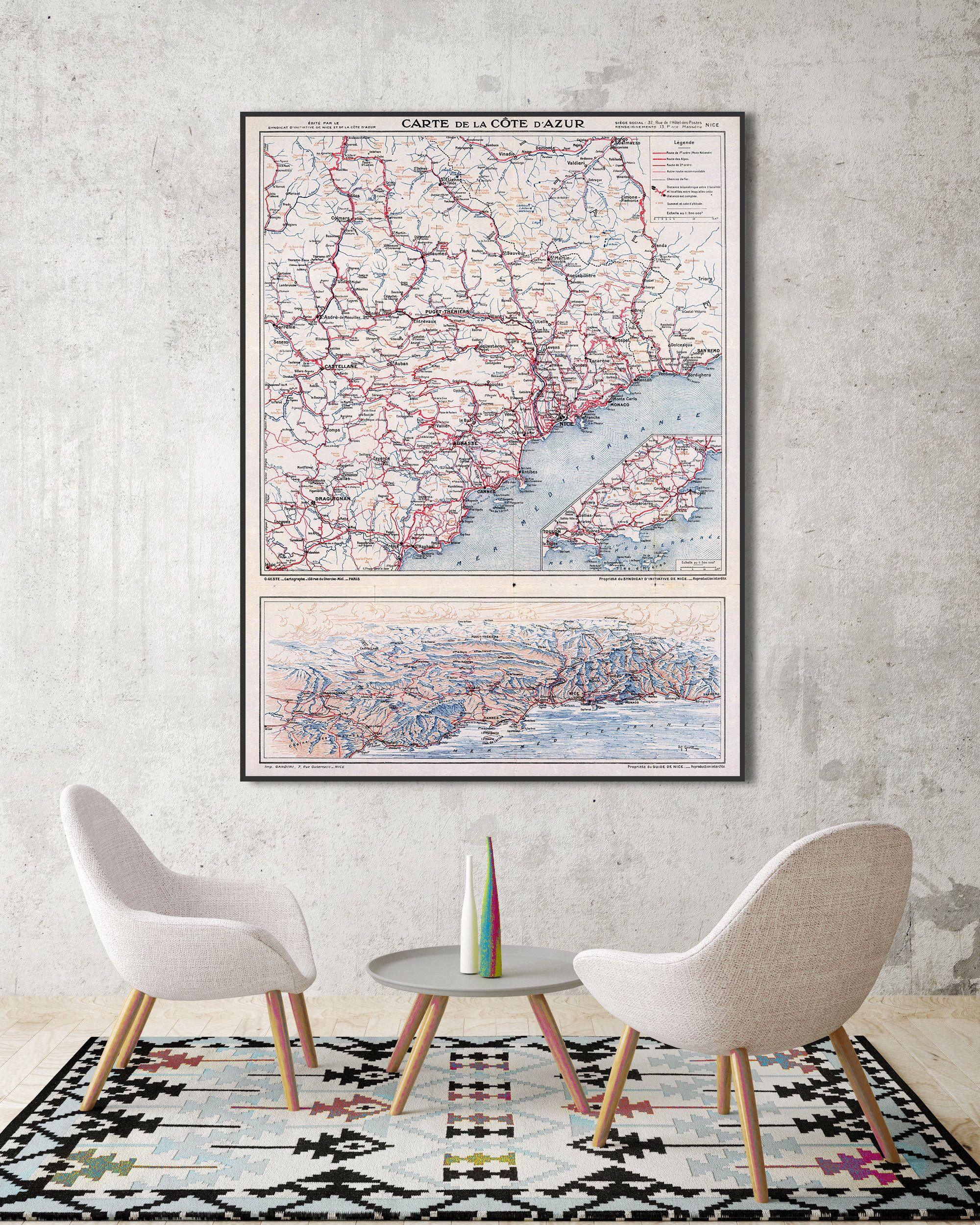 French Riviera 1939 French Riviera Map Carte De La Cote D Azur