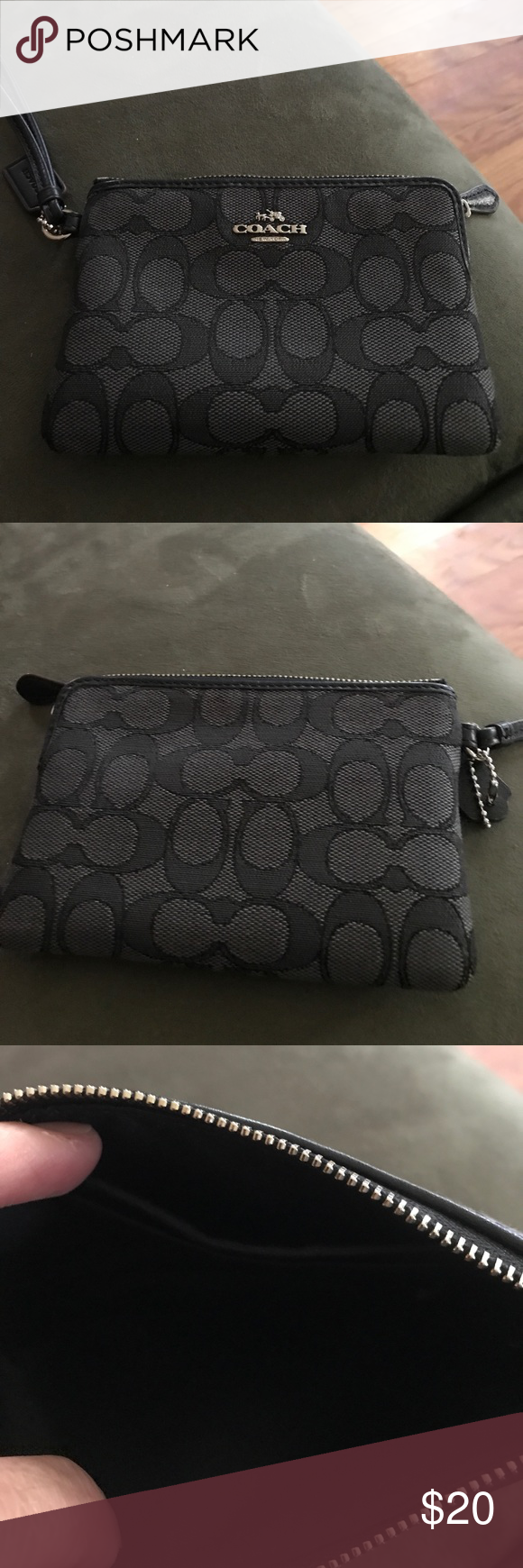 Black Coach Wristlet Black Coach Wristlet in excellent condition inside and out!! Needs a good home!! Coach Bags Clutches & Wristlets