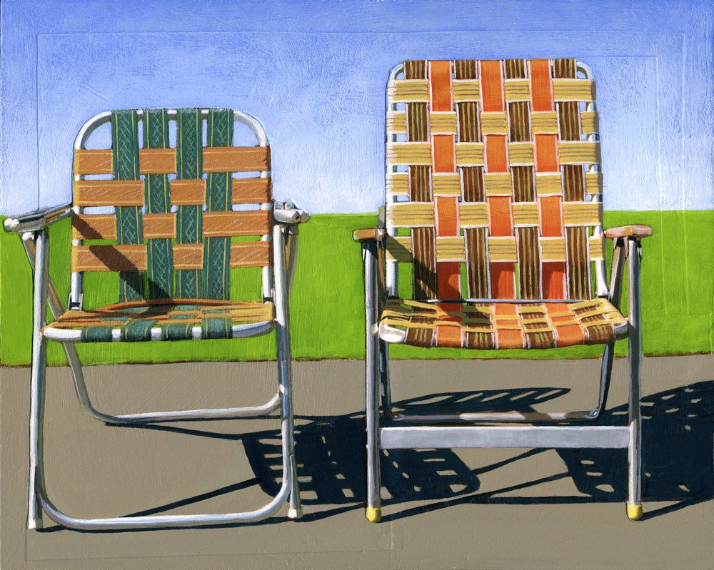 Superbe Summer Chairs (orange)   Limited Edition Giclee Print 86/100   As Seen In  WEST ELM Catalog