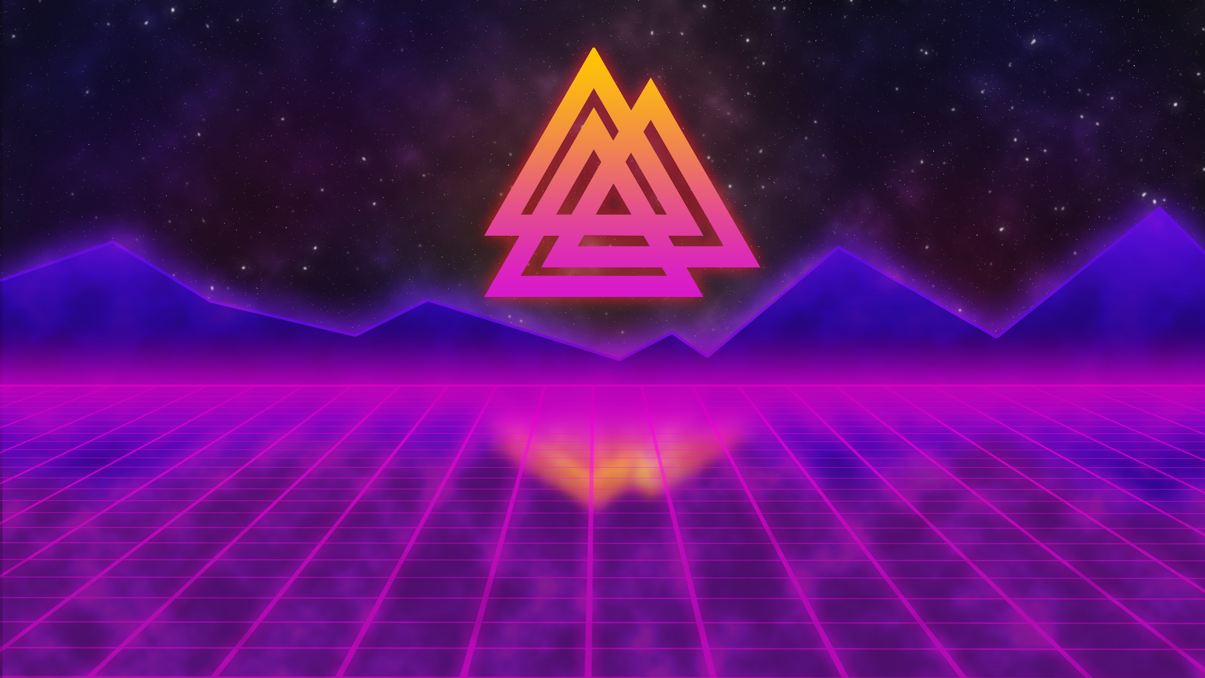 Synthwave viking valknut 3840 x 2160 hdwallpaper - Space 80s wallpaper ...