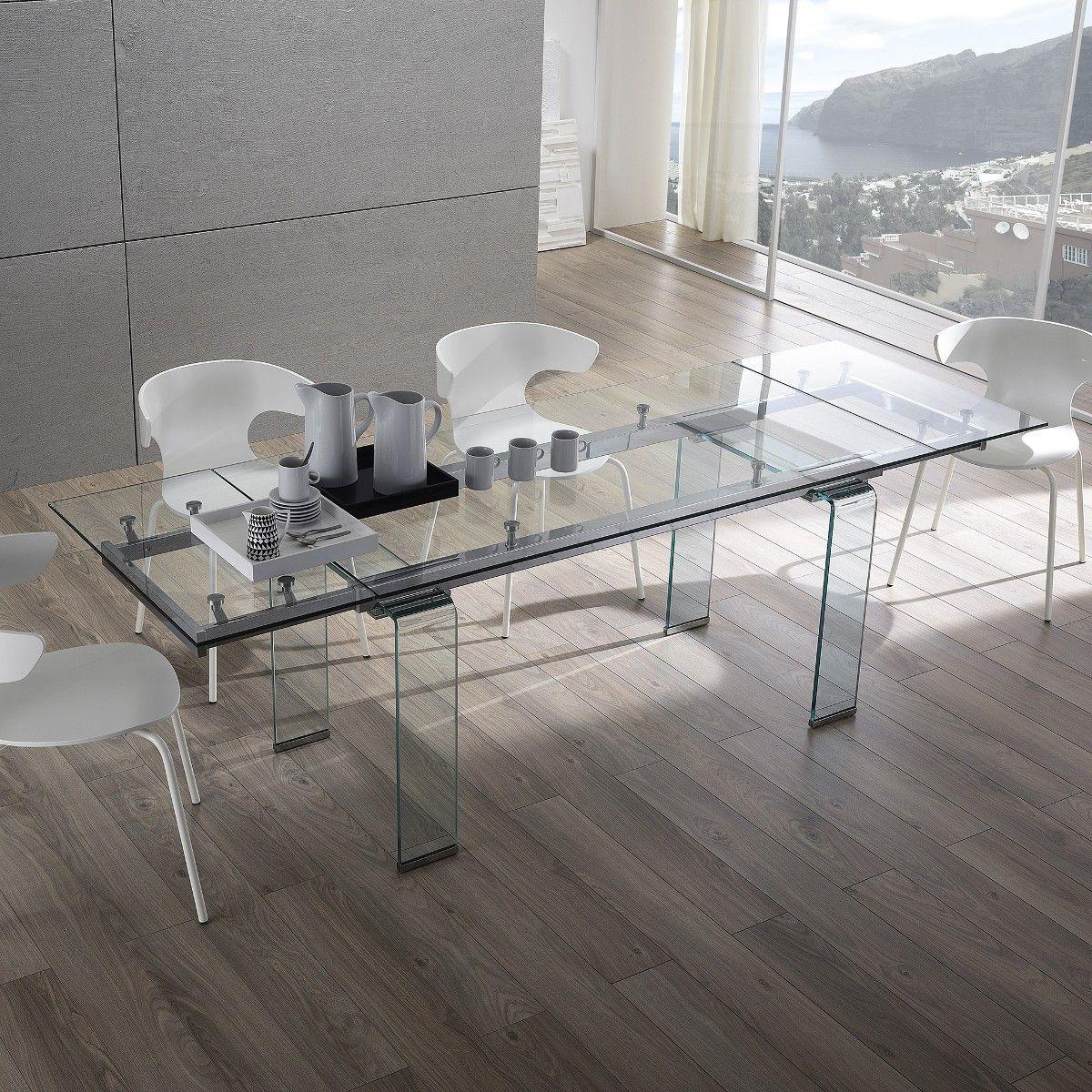 Tavolo Vetro Trasparente Allungabile.Tavolo Evident In Vetro Trasparente Allungabile Fino A 240 Cm