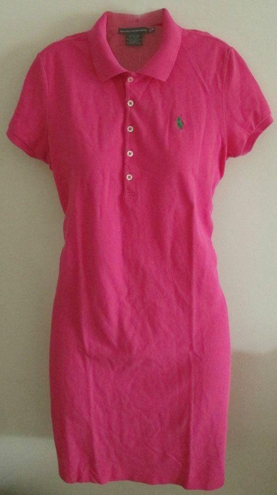 NWT Ralph Lauren Sport Polo Shirt Dress Pink Available in Size S and Size M #RalphLauren #ShirtDress