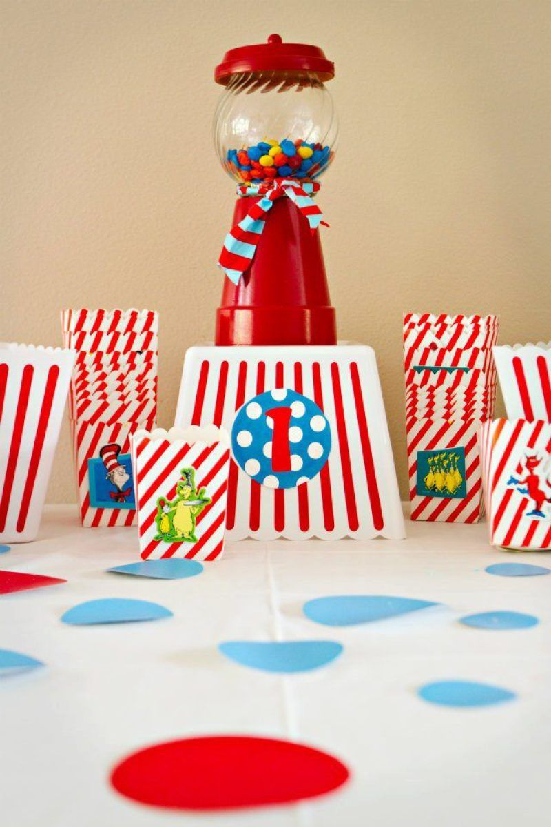 The BEST Dr Seuss 1st Birthday Party Ideas Including A Red Fish Blue Candy Bar Inspired Cake Cat In Hat Cookies And More
