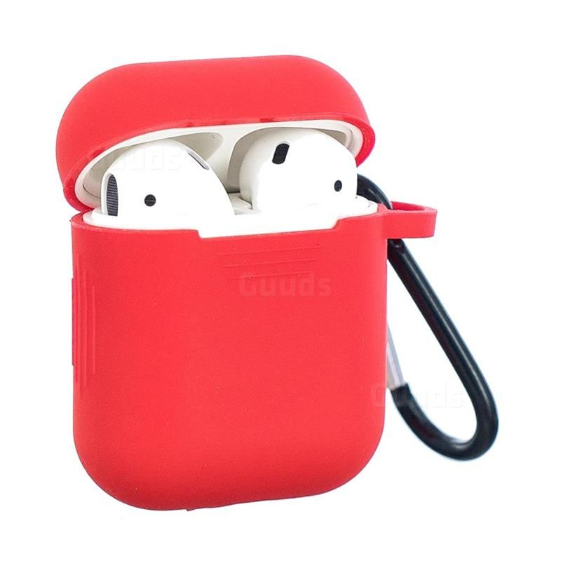 Non Slip Soft Silicone Case For Apple Airpods Red Airpods 1 2