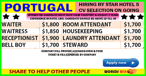 Urgent Requirement In Portugal Five Star Hotel Vacancy Apply Now