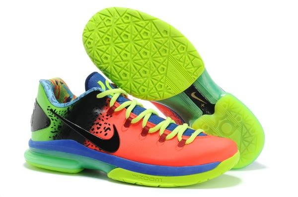 Nike Zoom Kevin Durant\u0027s KD V Elite Low Basketball shoes Orange/Black/Green