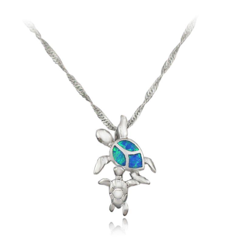 Opal Damen 925 Sterlingsilber Schildkröte Blau Weiß Halskette Kette Anhänger