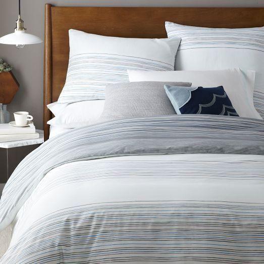 Bedding Skinny Mini Stripe Duvet Cover Shams West Elm Gray