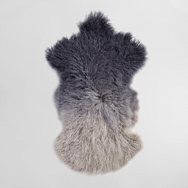 20 X35 Gray Ombre Mongolian Sheepskin Area Rug V1