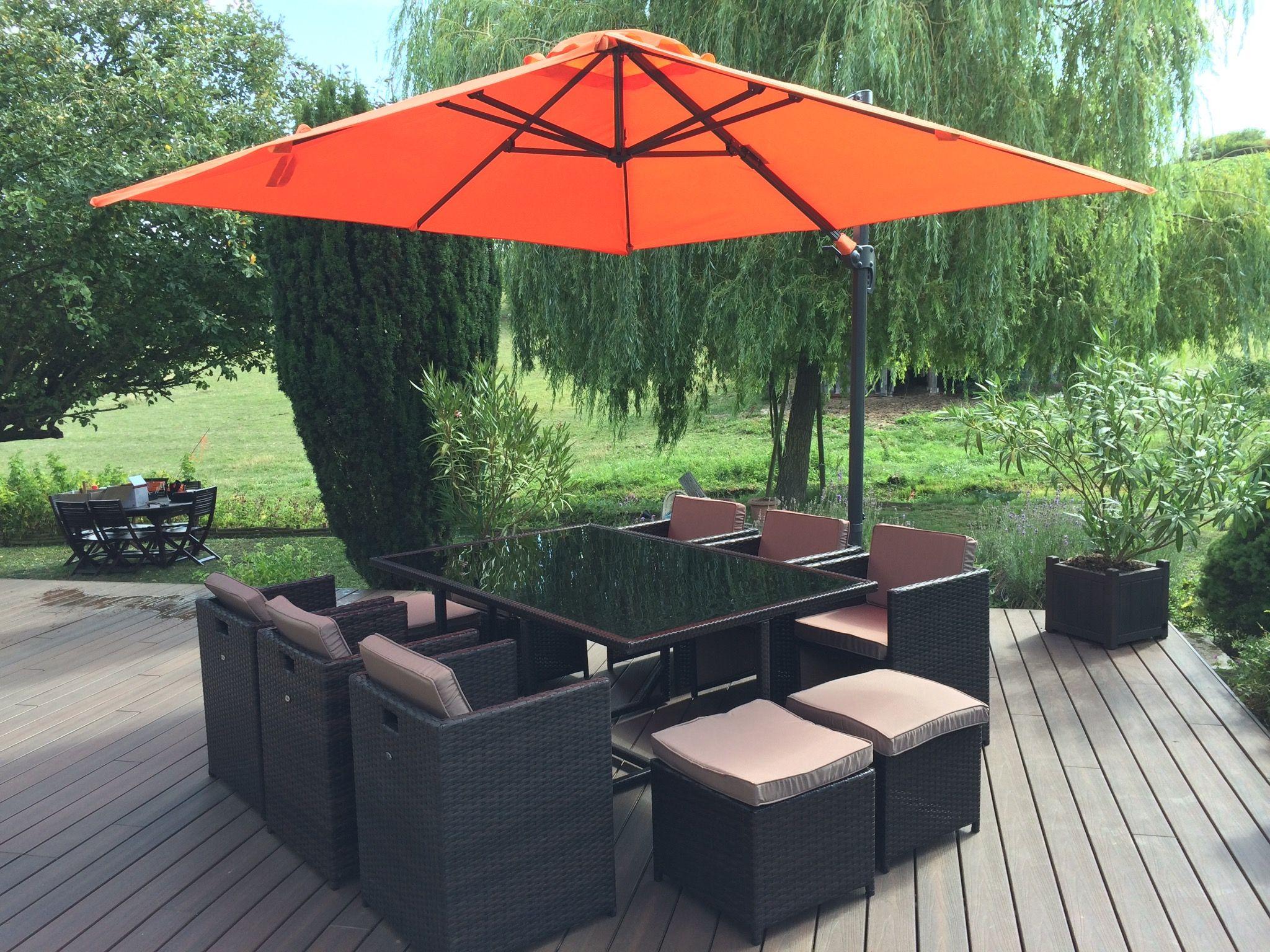Vasto 10: Table de jardin en résine tressée encastrable 10 places ...
