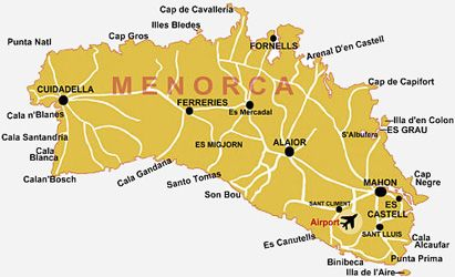 Map of Menorca and explanations of towns MENORCA Pinterest