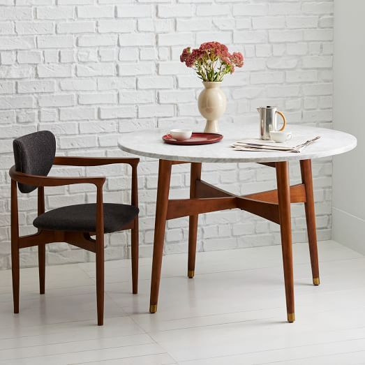 Mid Century Round Dining Rooms: Simple Mid-century Vibes And Small Size Make This Table A