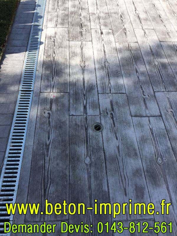 Beton Imprimé Imitation Bois Gris #beton Floors Pinterest - Faire Une Terrasse En Beton Cire