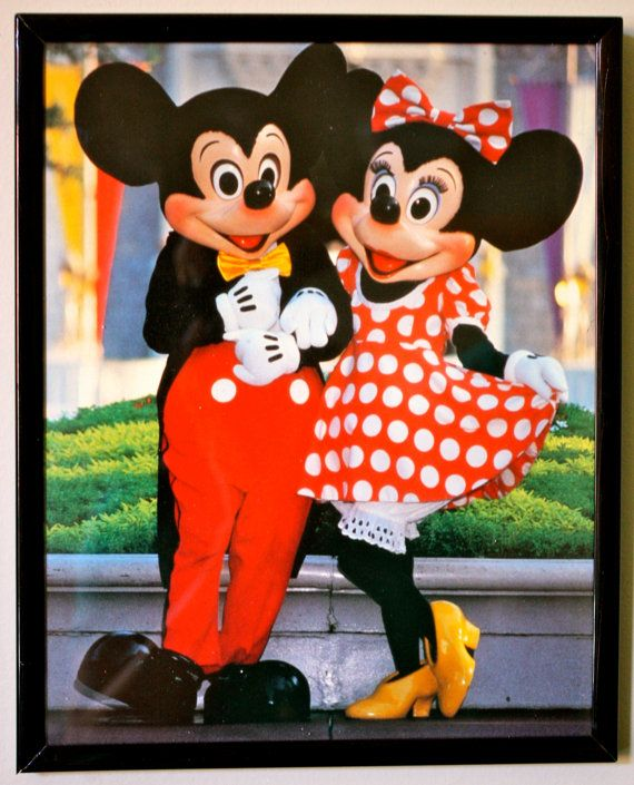 Vintage Walt Disney World Castle Micky Minnie Mouse Picture In