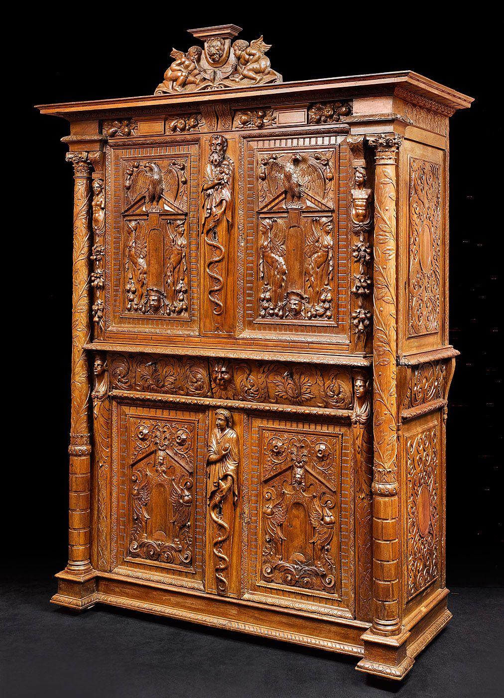 Cabinet Richement Sculpte D Epoque Renaissance 16e Siecle Bourgogne Meuble Baroque Armoire Ancienne Mobilier De Salon