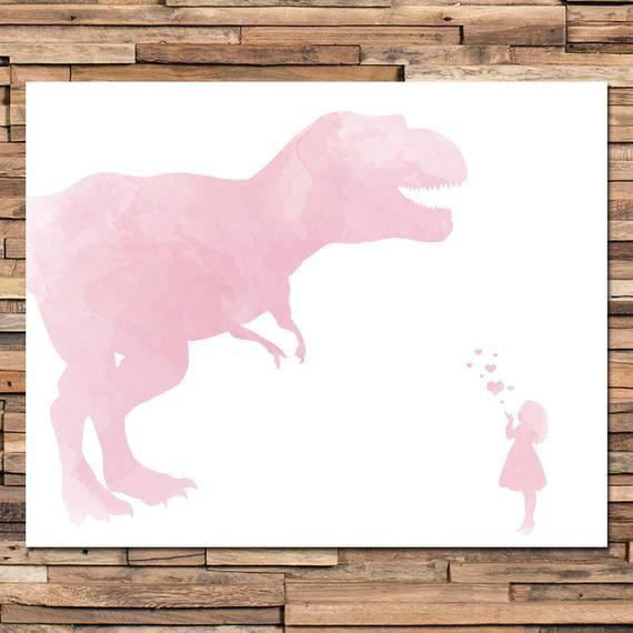 Girl Dinosaur Art - Dinosaur Nursery - Girls Bedroom - Girls Bedroom Decor - Girls Dinosaur Decor - #dinosaurart