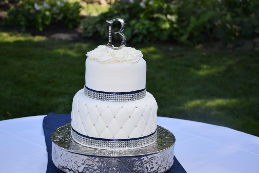 Quilted Wedding Cake In White Silver And Navy Blue Wedding Cake Quilted Silver Wedding Cake Navy Blue Wedding Cakes