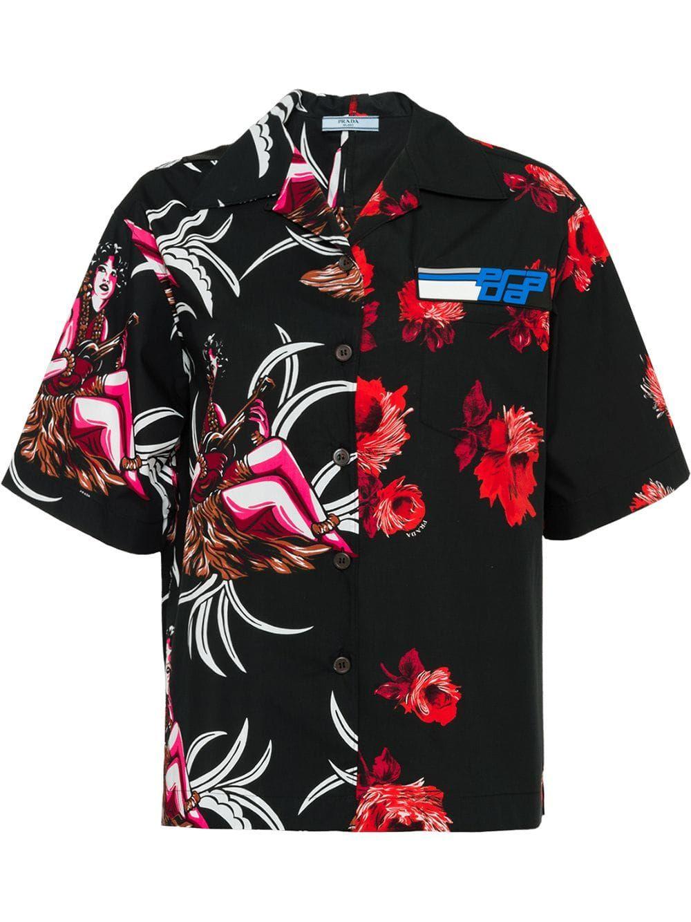 8e607c39 Prada floral short-sleeve shirt - Black | Products in 2019 | Shirts ...
