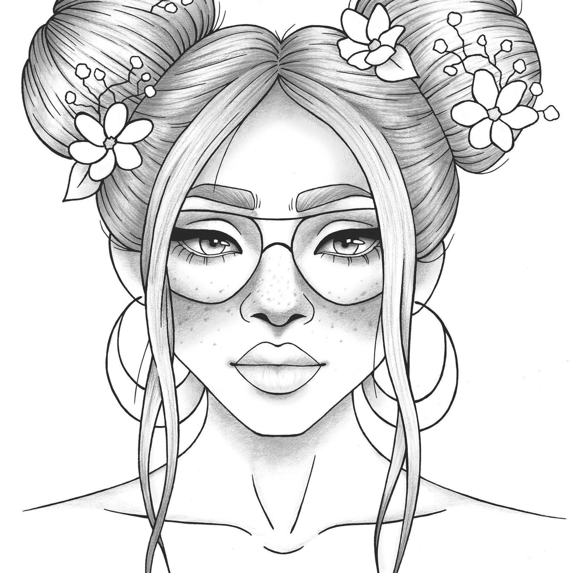 Adult Coloring Page Girl Portrait And Clothes Colouring Sheet