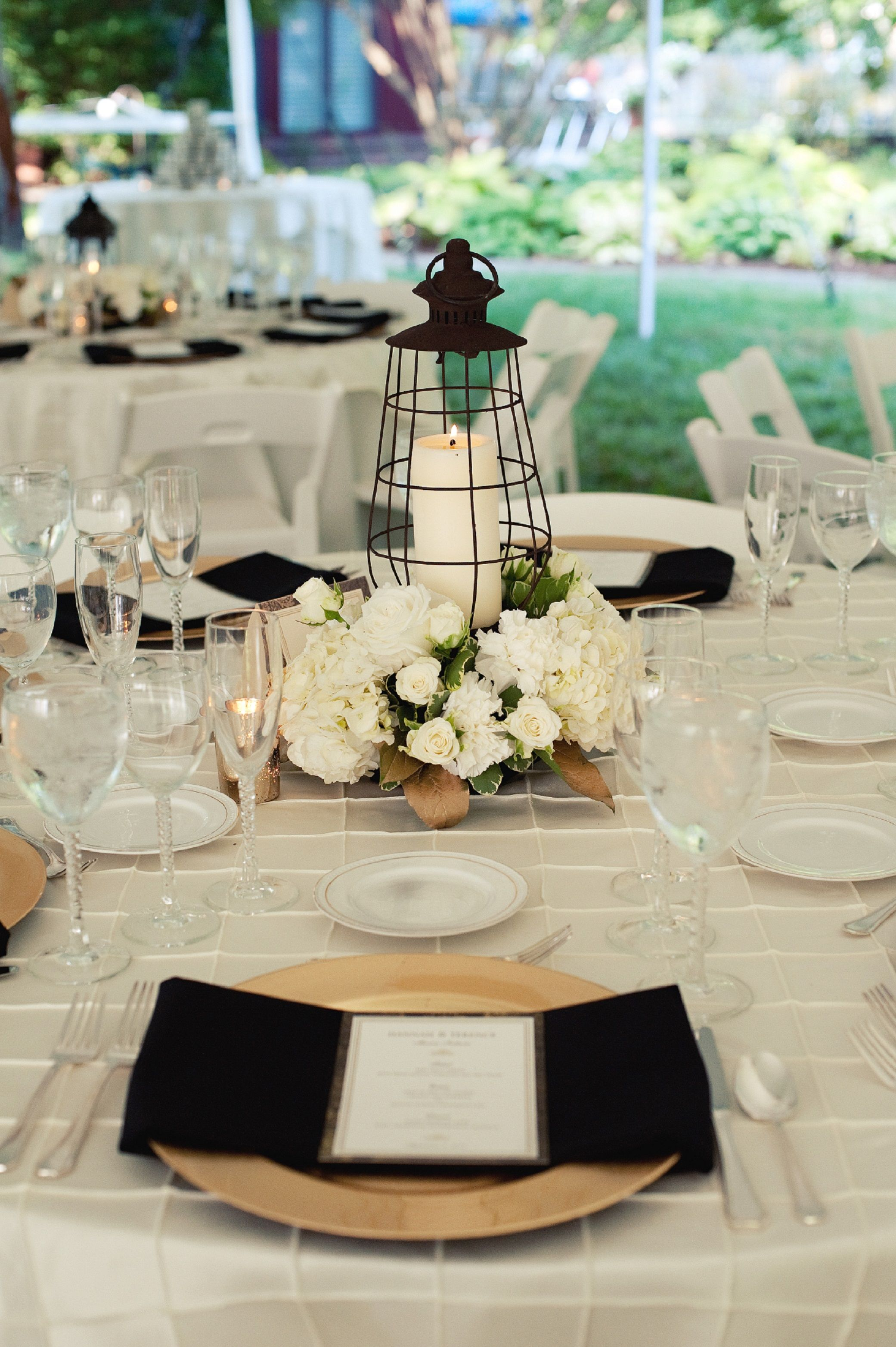 Lantern Centerpieces Ivory Gold And Black Wedding Backyard