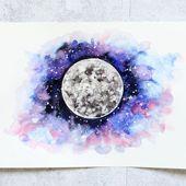 Galaxy Planeten Aquarell Aquarell Universum Mond Mars Venus Jupiter  Aquarell   Kunst