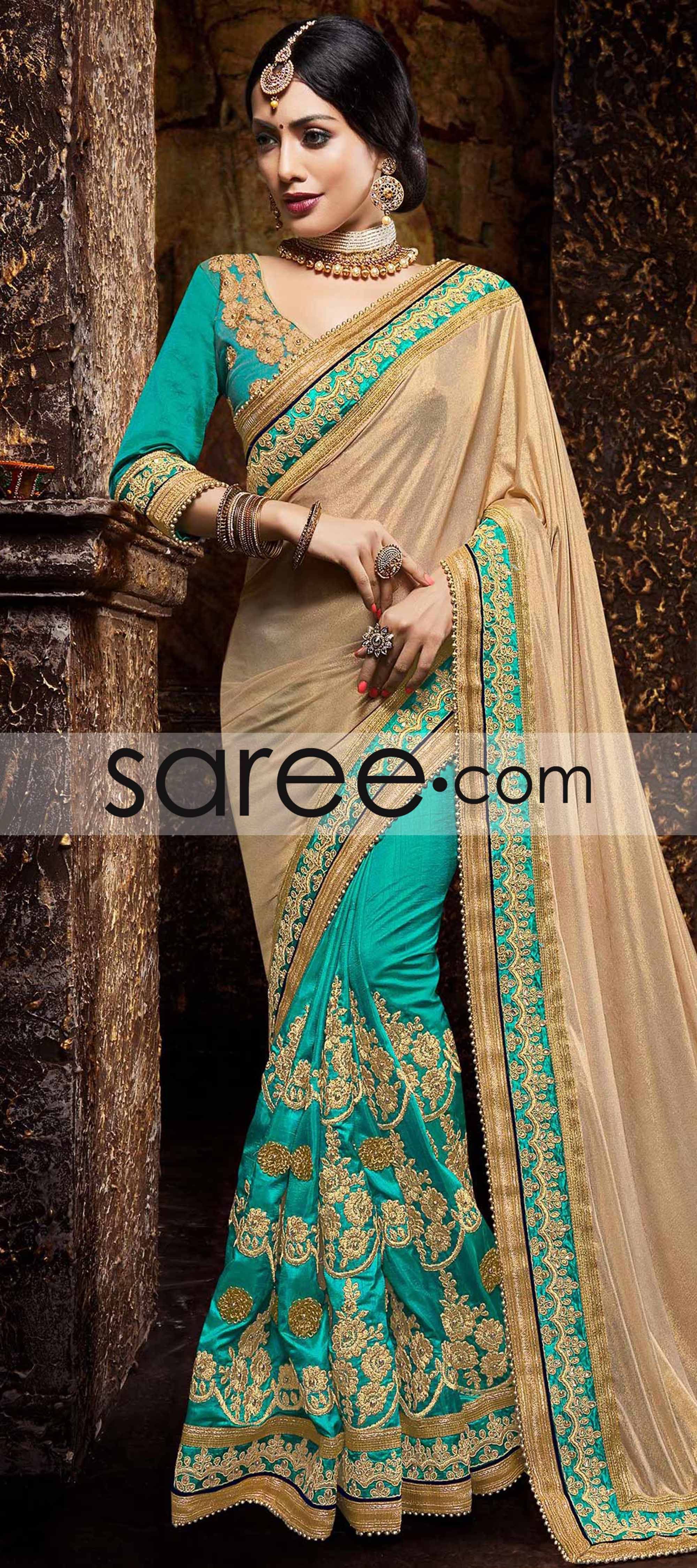 Beige and sea green art silk saree with zari embroidery work green