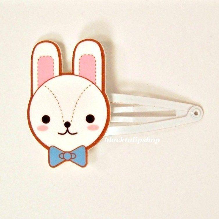 Cute Kawaii Hair Snap Clip White Bunny Rabbit Blue Bow Tie Pink Ears 4 50 Via Etsy Kawaii Accessories Kawaii Hairstyles Kawaii
