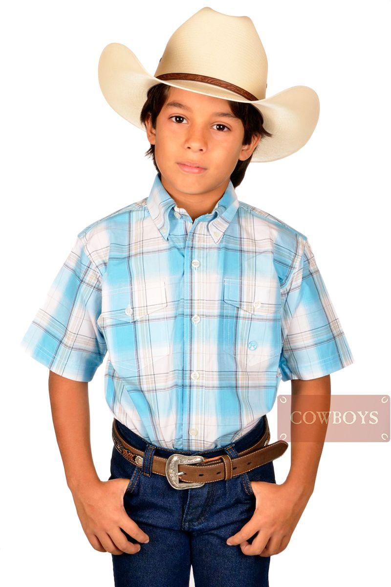 105d1fad9d Camisa Roper Infantil Azul Claro e Bege Camisa infantil