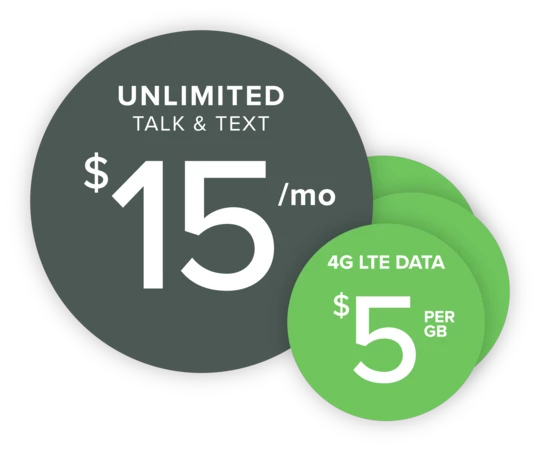 Unlimited Talk and Text at 15/Month • 30 off your First