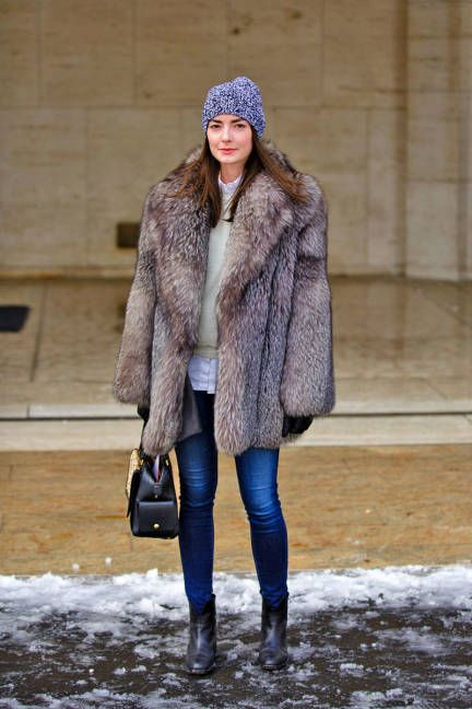 warm in fur at #NYFW #streetstyle