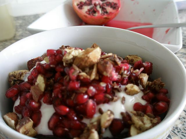 Buckwheat-Cocoa Breakfast Cake with Pomegranate Seeds