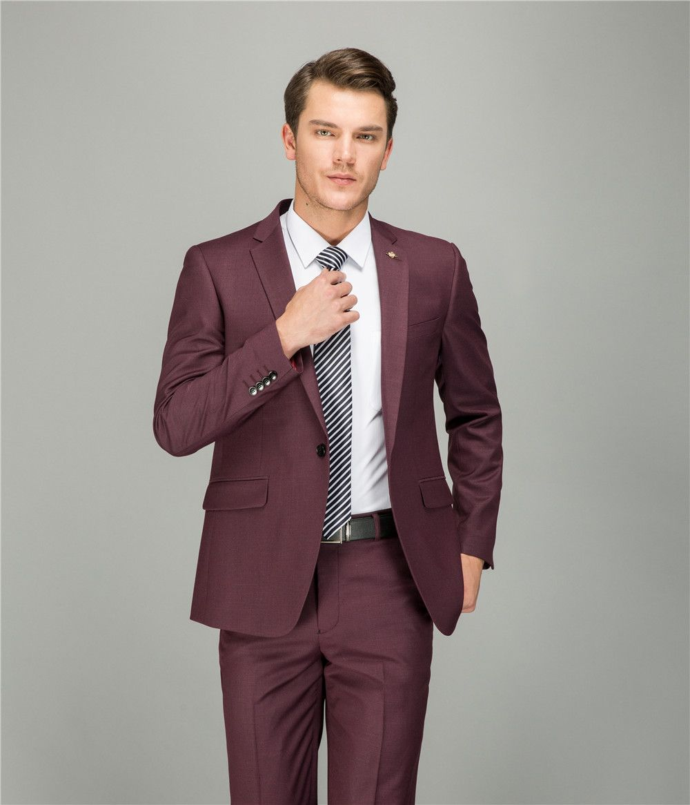 Wool wine red tailor made suit men fashion wedding dress mens suits