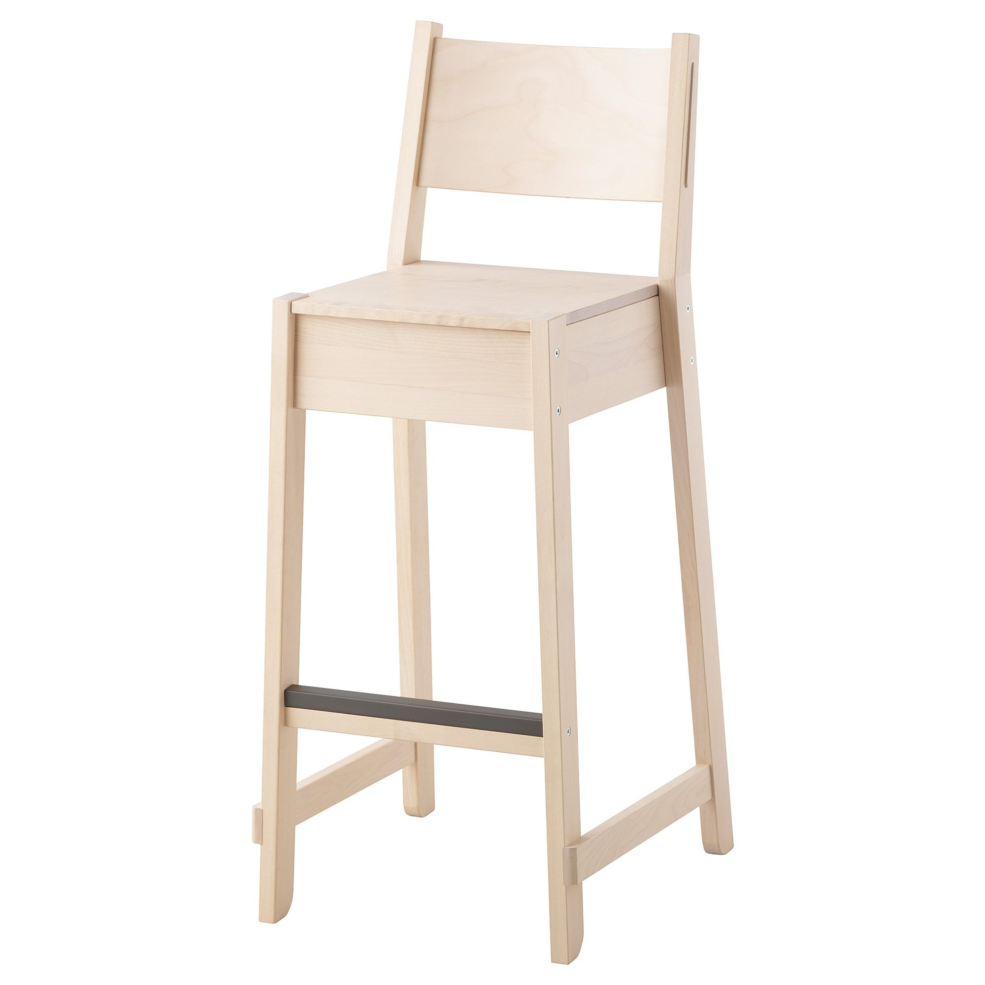 Norraker Bar Stool With Backrest Birch 29 1 8 Bar Stools