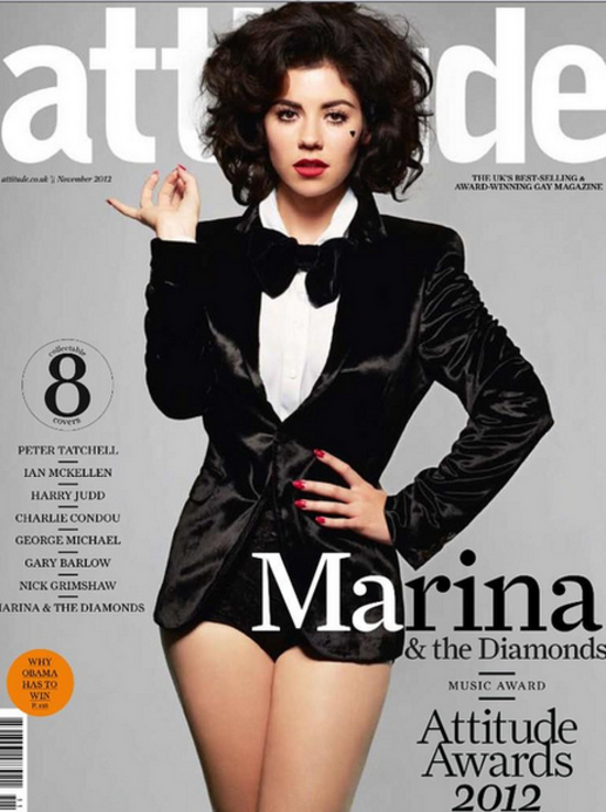 "Marina and the Diamonds with her all time favorite Velour Lashes 'Doll Me Up' on the cover of Attitude Magazine! She tweets: ""Velour Lashes are the best lashes in the world!"""