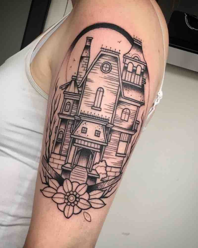 22 Of The Best House Tattoos Framed Tattoo Tattoos Halloween Tattoos Sleeve