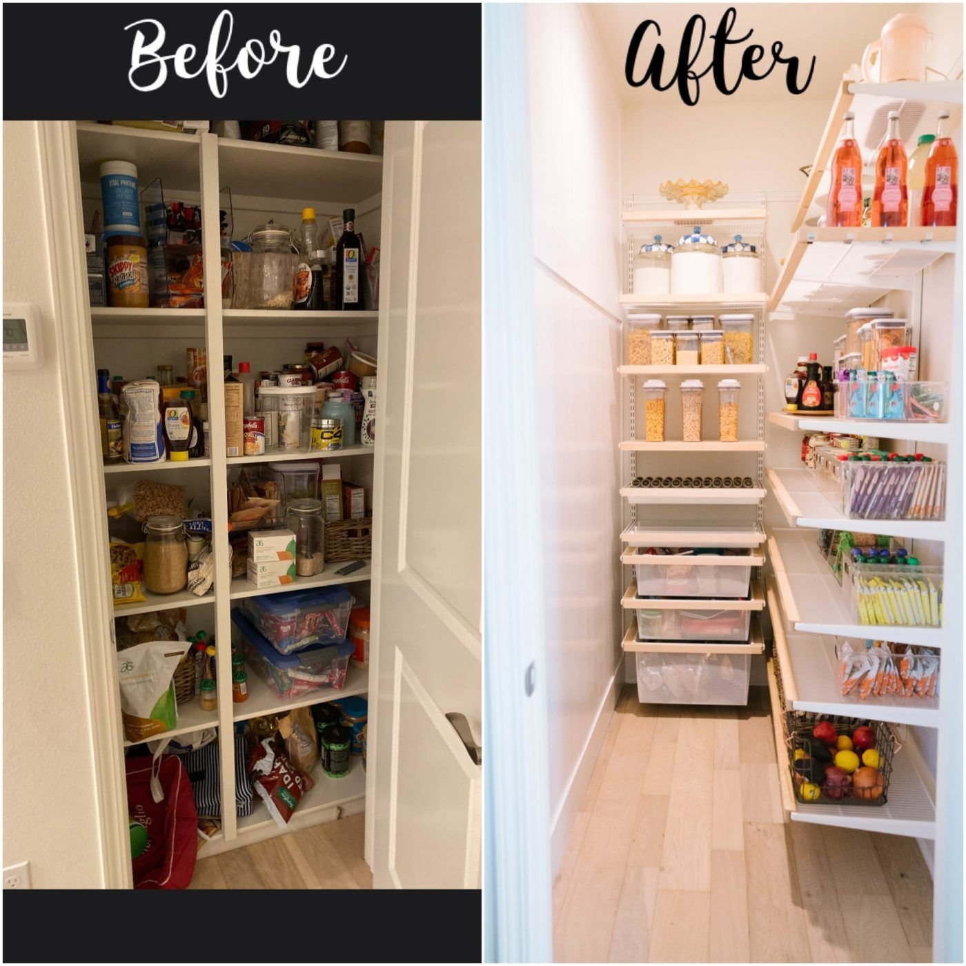 pantry re model before and after in 2020 small pantry closet container store small pantry on kitchen organization before and after id=71367