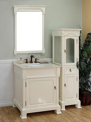 30 Helena Single Bath Vanity Cream Bath Vanities Linen Cabinet