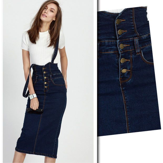 b29e15cf53 Summer New Arrivals Women Suspender Skirt High Waist Front Button Ladies  Long Midi Stretch Pencil Jeans Skirt Plus Size
