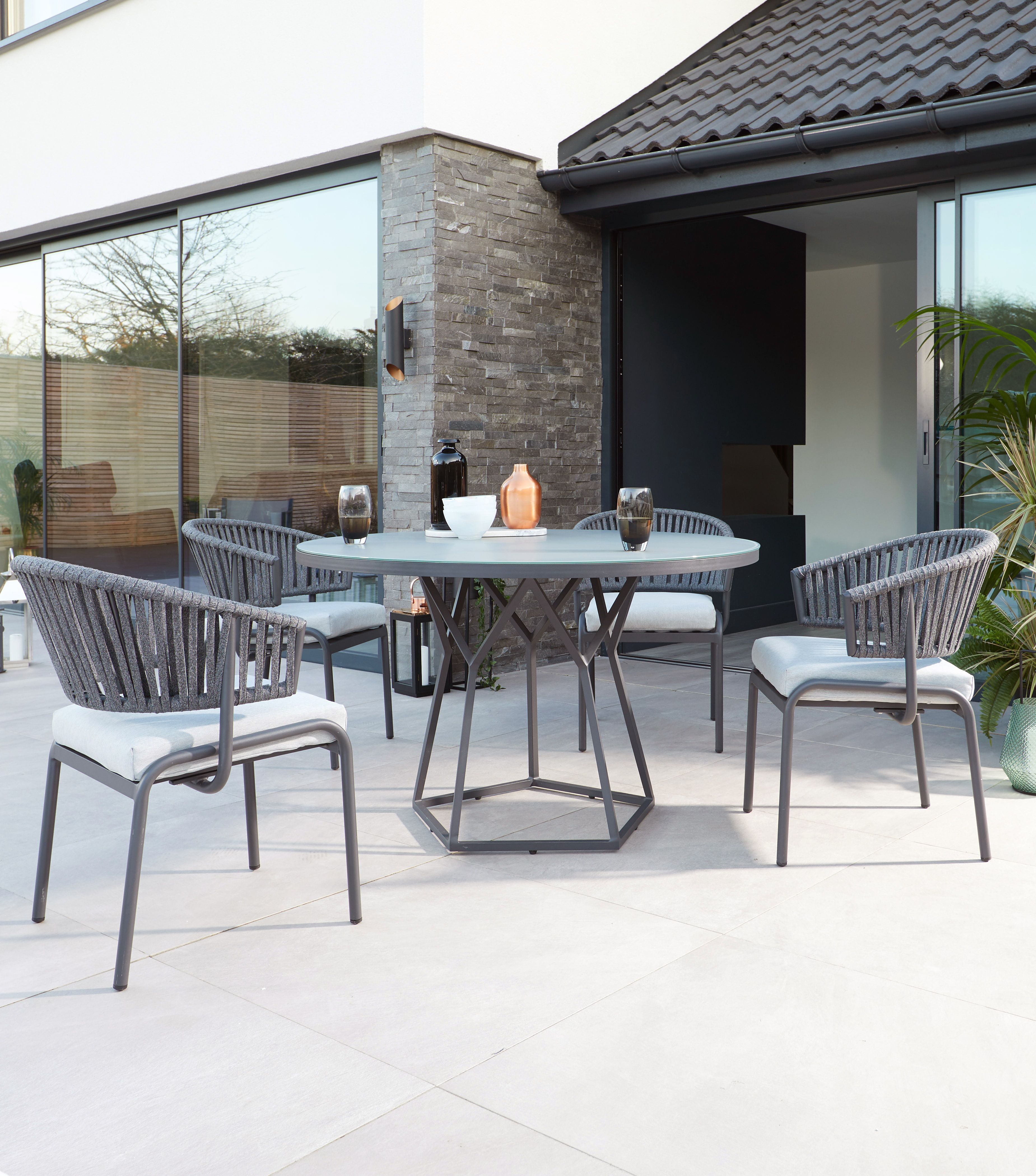 Porto Round Grey and Glass and Ivy Dining Set in 2020