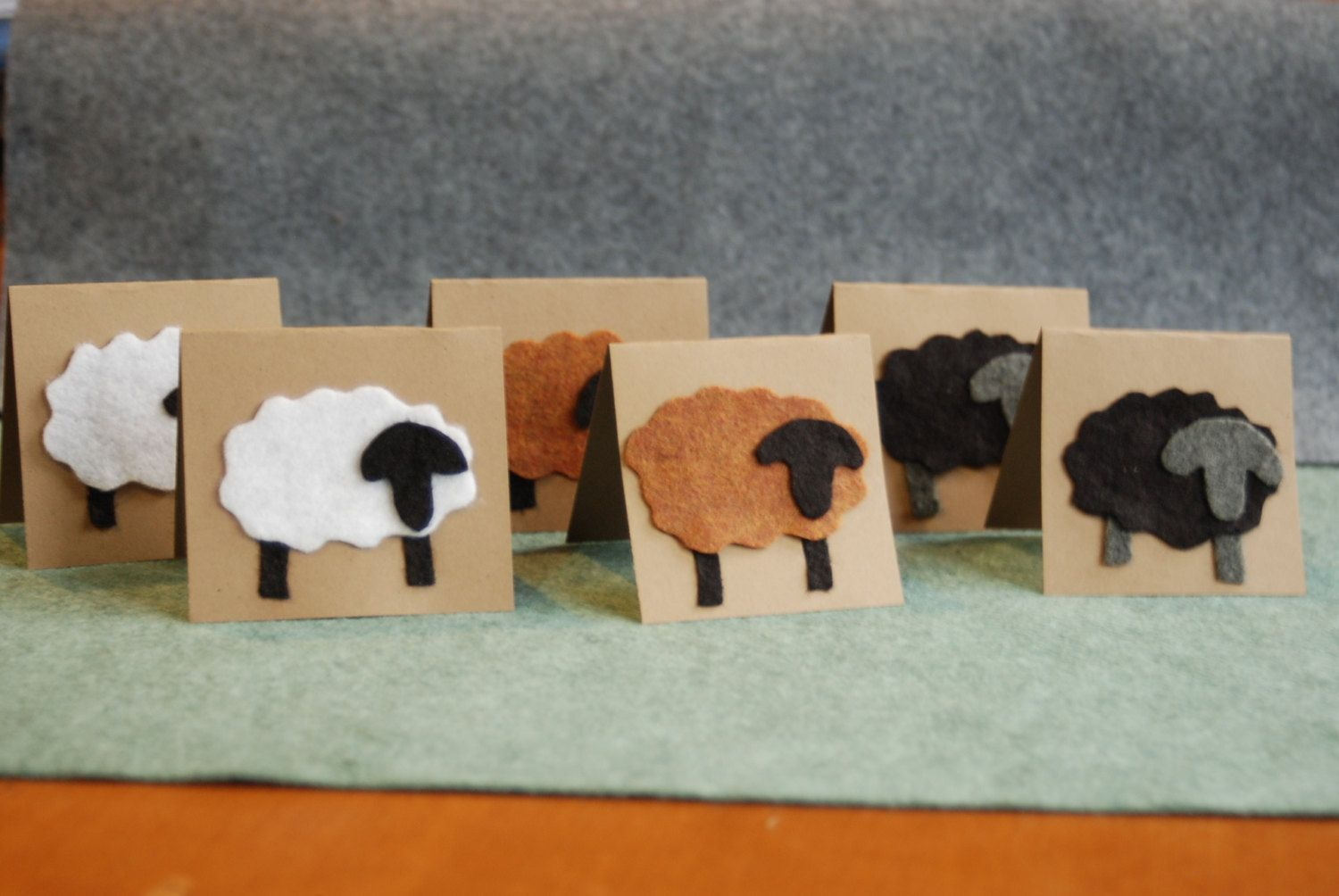 Handmade Felt Sheep Cards Pack Of 6 Soft To Touch Greeting Cards