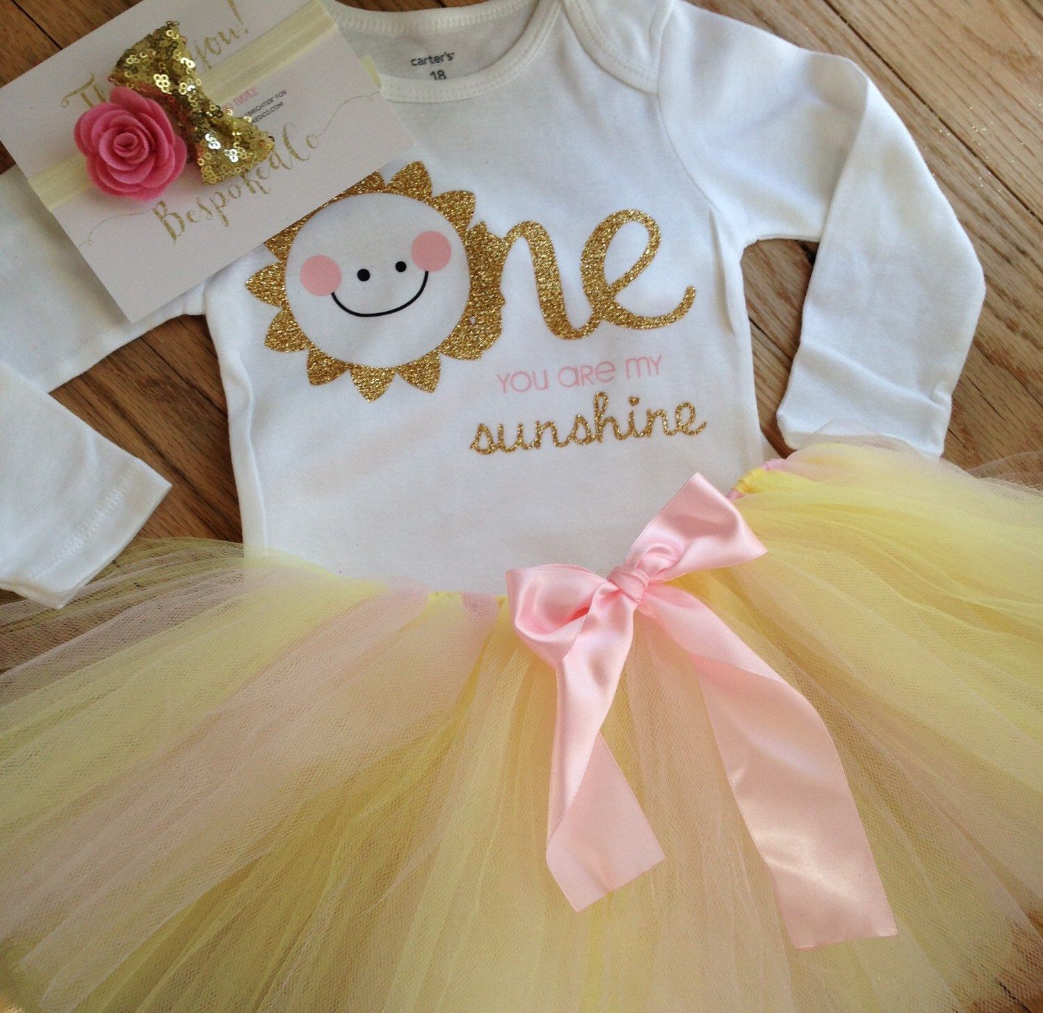 You Are My Sunshine First Birthday Outfit/Pink And Gold