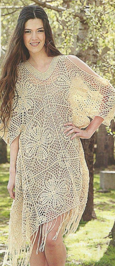 Crochet tunic, free pattern. | vestidos | Pinterest | Trajes de baño ...