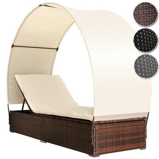 Miadomodo Sdraio da giardino lettino esterno in rattan divano esterno con parasole (marrone; per 1 persona)