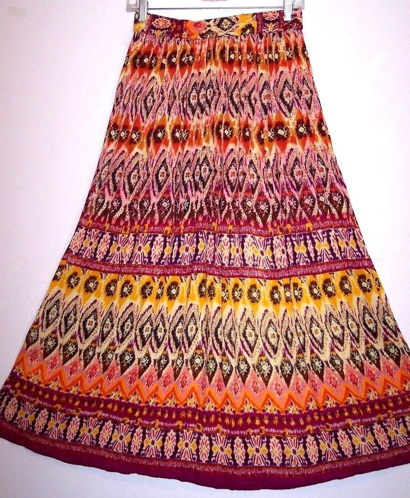 c3d3743892 Chaudry Skirt S Ethnic Boho Hippie Rayon Peasant Broomstick Women's Size  Small #KCChaudry #PeasantBoho #Casual